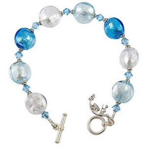 Schissa Murano Glass Bracelet - Aqua and Silver
