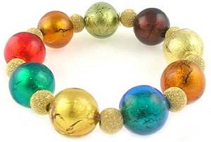 Susanna Venetian Bead Bracelet - Multi Colors Murano Glass Beads with Gold Fill Sparkle Beads