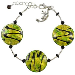 ZigZag Murano Glass Bracelet - Green and Black - Adjustable