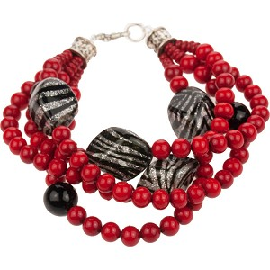 Murano Glass 4 Strand Black Zebra Red Bracelet, 7 Inch