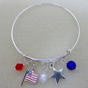 Festive American Flat Adjustable Bangle Bracelet with Charms