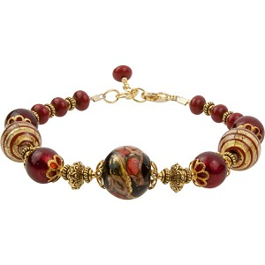 Red Bead of Roses and Gold Filigrana Bracelet 8 Inch w Extender