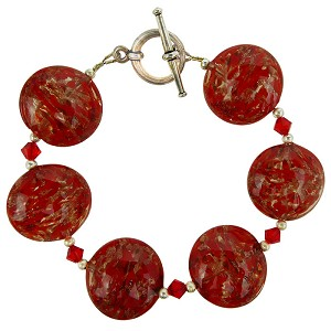 Red Murano Glass Sommerso Discs Bracelet, Murano Glass Bracelet 8 Inches
