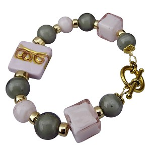 Gold Scrolls on Pink with Gray Murano Glass Bracelet 8 Inches
