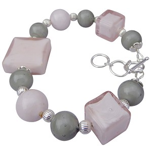 Pink with Gray Carmella Murano Glass Bracelet 7 1/2 Inch with 2 Inch Extension
