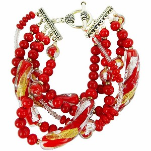 Vicenza Flash Red, Gold & Silver 5 Strand Bracelet, 8 Inches