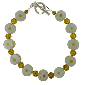 Yellow and Aventurina Murano Glass Bracelet 7.5 w/2Inch Extension and Bead Dangle and Gold Tone Clasp