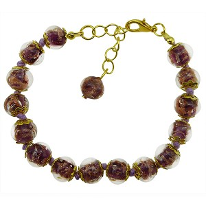 Light Amethyst Aventurina Bracelet 7.5 Inch  with 1 1/4 Inch Extender, Gold Tone Clasp Authentic Murano Glass Beaded