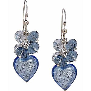 Shades of Blue Heart and Swarovski Crystal Earrings, Sterling Silver