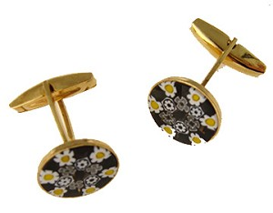 Yellow/Black Millefiori Cufflink Gold Plate