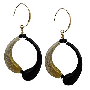 Black and Gold Curved Ying & Yang Boro Tubes Earrings
