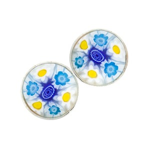 Blues and White Millefiori Cabochon Post Earrings, Sterling Silver Murano Glass Jewelry