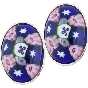 Blue and Pink Oval Cabochon Post Earrings, Sterling Silver Murano Glass Jewelry