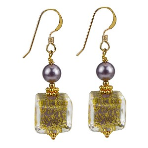 Ca'd'oro Opaque Viola Earrings with Gold Fill Ear Wires