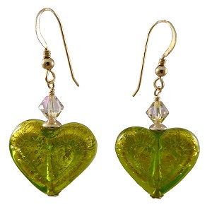 Double Heart Peridot on 24kt Gold Foil Murano Glass Earrings with Gold Fill Ear Wires