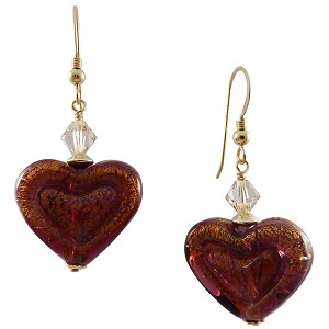 Double Heart Amethyst on 24kt Gold Foil Murano Glass Earrings with Gold Fill Ear Wires