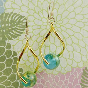 Aqua Murano Glass Beads with Gold Foil  with Gold Plated Twist Earrings