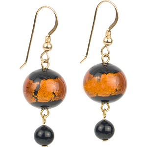 Topaz Black Sash Fall Murano Glass Earrings, Gold Fill Earwires