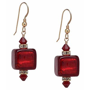 Red Gold Foil and Crystals Murano Glass Earrings with Gold Fill Ear Wires