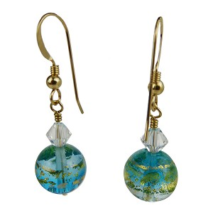 Lampwork Murano Glass Beads Aqua with Gold Foil with Swarovski Crystals