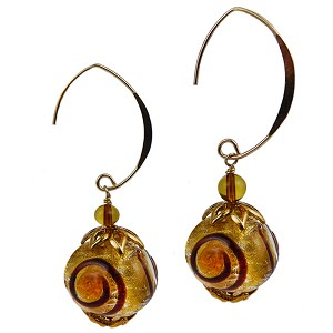 Lampwork Murano Glass Beads Miro Gold Foil and Topaz Dots with Gold Fill Ear Wires