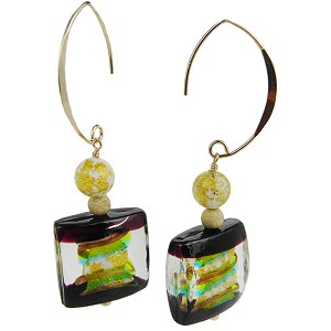 Windows Double Stripe Earrings Green and Aqua Swirls