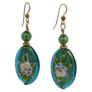 Murano Glass Aqua and Handpainted Porcelain Flowers Earrings Gold Fill Ear Wires