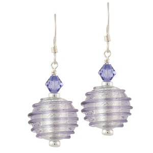 Spirale Earrings - Plum Purple over Silver Murano Lampwork Beads