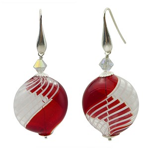 Red and White Filigrana Mouth Blown Murano Glass Piatto Earrings Sterling Silver Ear Wires