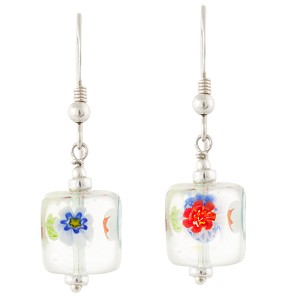 Multi Colors Transparent Murano Glass Cube Earrings