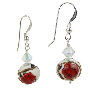 Red Poppy Flower Earrings Murano Glass Sterling Silver Earwires