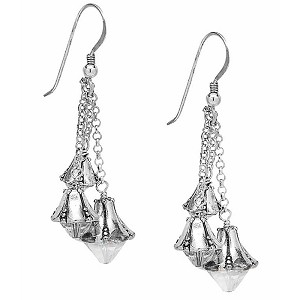 Holiday Earrings Bells in Silver Plated Pewter and Swarovski Crystal Dangles