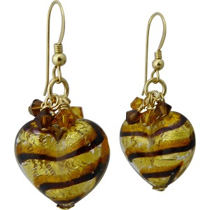 Tigrato Stripes Topaz and Black  Earrings Gold Fill Earwires and Swarovski Crystals