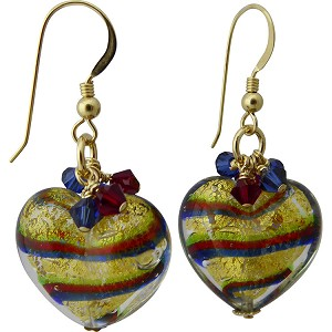 Tigrato Stripes Green, Red & Cobalt Earrings Gold Fill Earwires with Swarovski Crystals