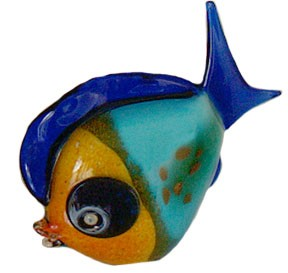 Orange Ruffy Murano Glass Fish
