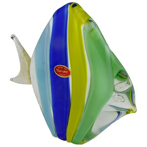 Blue and Green and Yellow Striped Fish with 24k tGold Foil Accents Murano Glass