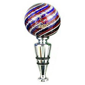 Red Blue and White Mouth Blown Murano Wine Stoppers La Fenice
