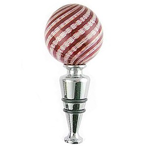 Red and White Zanfirico Murano Glass Wine Stopper La Fenice