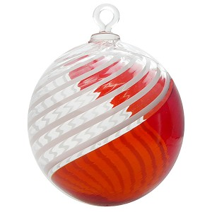 Red and White Filigrana Swirls Murano Glass Hanging Ornament