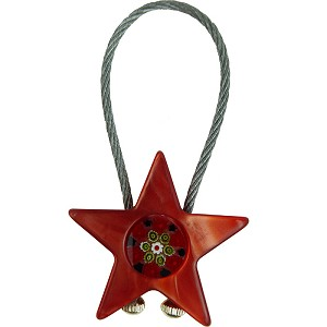 Key Chain Red and Black with Plastic Star