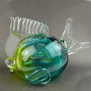 Blown Aqua and Green Glass Puffer Fish