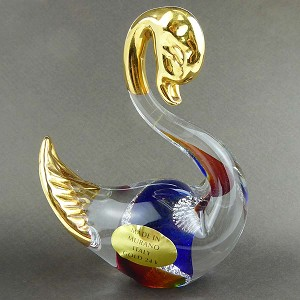 Topaz and Blue Swan with 24k tGold Foil Accents Murano Glass