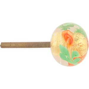 Orange Fiorato and 24kt Gold Foil Murano Glass Drawer Pull