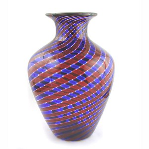 11 in H  x 7 1/2 in DIA (tapered) Red/ Blue Palazzo  Murano Glass Vase