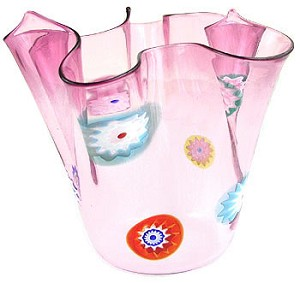 Ruby Fazzoletta (Handkerchief)  Murano Glass Vase with Murrine 5in H x 5in DIA