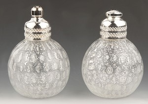 Clear and Silver Murano Glass Salt and Pepper Shakers