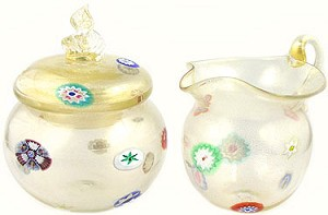 Venetian Glass Cream and Sugar Set