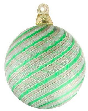 Green and White Spiral Hanging Ornament