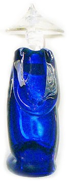Murano Glass Asian Figure in Cobalt Blue