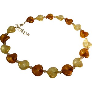 Gold and Topaz Murano Glass Twists Necklace 18 Inches with 2/12 Extension